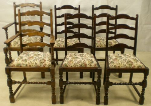 Set of Six Antique Style Dark Elm Ladderback Dining Chairs